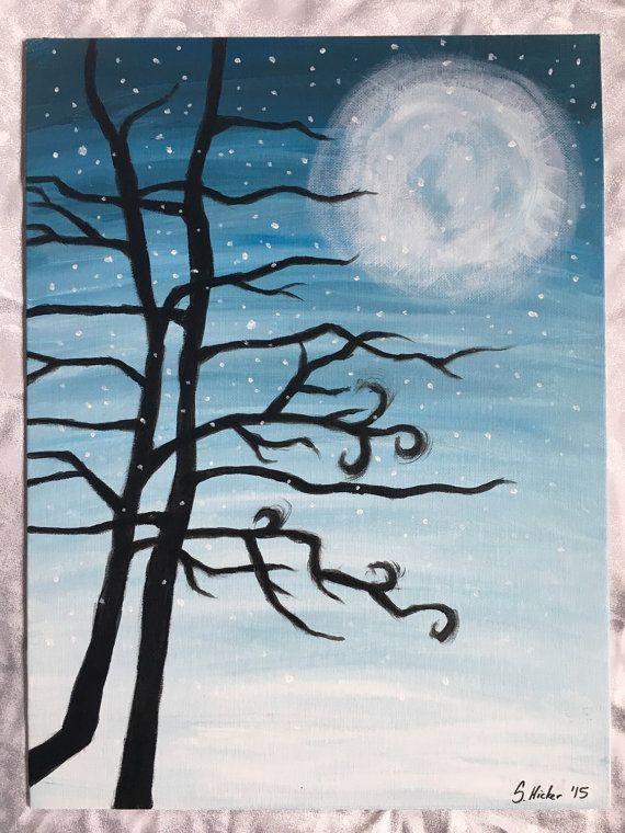 Winter vakantie sneeuwlandschap schilderij bomen acryl 11 x 14 blauw ijs maan