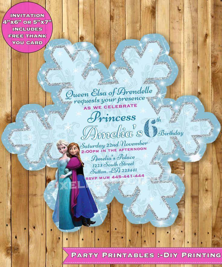 Frozen Birthday Invitation, Frozen Birthday party Frozen Invite Bespoke Frozen snowflake Anna Elsa Olaf invitation  + FREE THANK YOU card by PixelPerfectionParty on Etsy https://www.etsy.com/listing/206874859/frozen-birthday-invitation-frozen