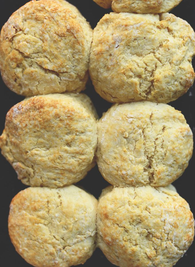 Vegan Biscuits 1/3 c coconut flour, 2/3 c millet flour, 1/2 T baking powder, 1/4 t baking soda, 1/3 t sea salt, 1 T coconut butter, 1/2 c almond milk, 1/2 T lemon juice. 450F. Mix dry. Quickly cut in cold butter. Make a well, w wooden spoon, stir gently, pour milk, s/b sticky add cold water as needed. On floured surface, dust top & gently fold dough 5-6x. 1-in thick, handle little. Use dough cutter or cocktail shaker. Place on baking sht touching. Brush w melted butter & press small divot in…