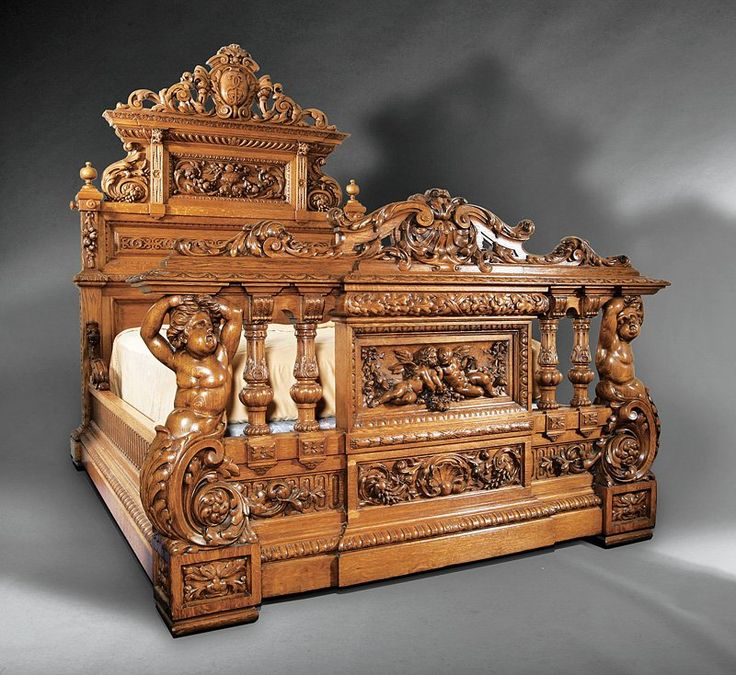 An Impressive American Renaissance Carved Oak Bedroom Suite in the Henry II Taste, mid-19th c., New York