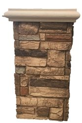 "16"" Ledgestone Full Column Kit with cap  faux stone sheets, faux stone siding, artificial rock, faux stone panels, wall panel, faux stone veneer, ledgestone"