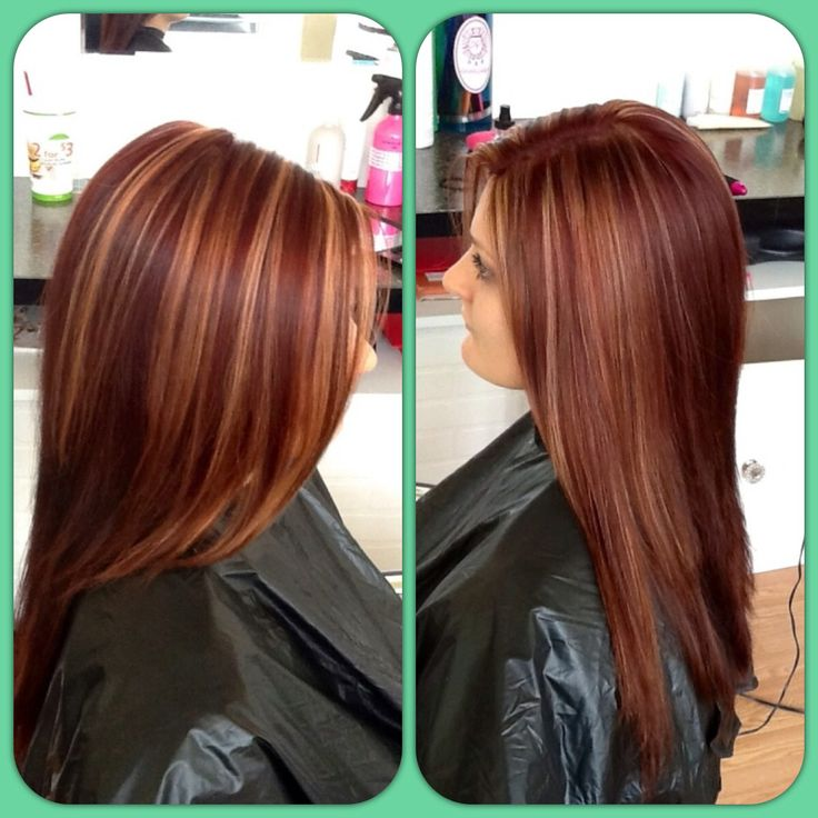 Red hair color, dimensional color, highlights. Can't wait to do this next!!