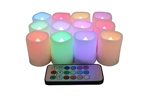 EcoGecko Set of 12 IndoorOutdoor Remote Controlled Plastic Resin LED 12 Rainbow Color Changing Votive CandlesBatteries Included *** You can get more details by clicking on the image. #FlamlessCandle