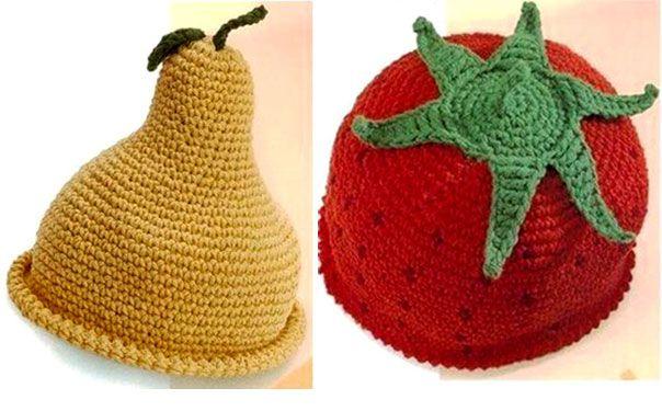 Вязаные детские шапки-фрукты