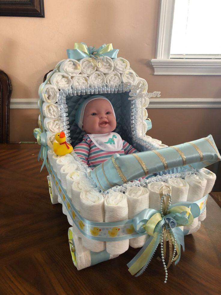 Elegant Diaper Stroller / Beautiful Centerpiece for Baby
