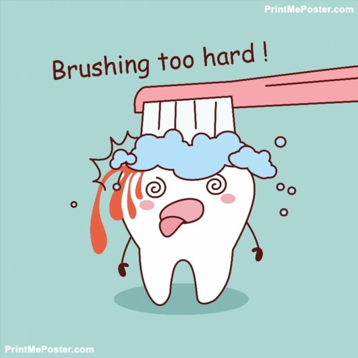 Poster of cartoon tooth brushing too hard #poster, #printmeposter, #mousepad, #tshirt