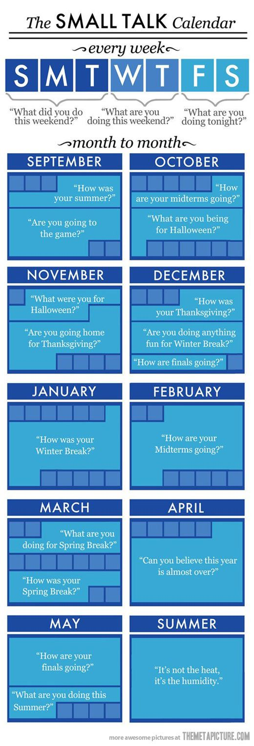 "The Small Talk Calendar… (Via Tante Lory - ""Giggles and smiles"" board) http://www.pinterest.com/tantelory/giggles-and-smiles/"