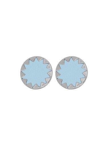 House of Harlow Sunburst Button Earrings Ice Blue