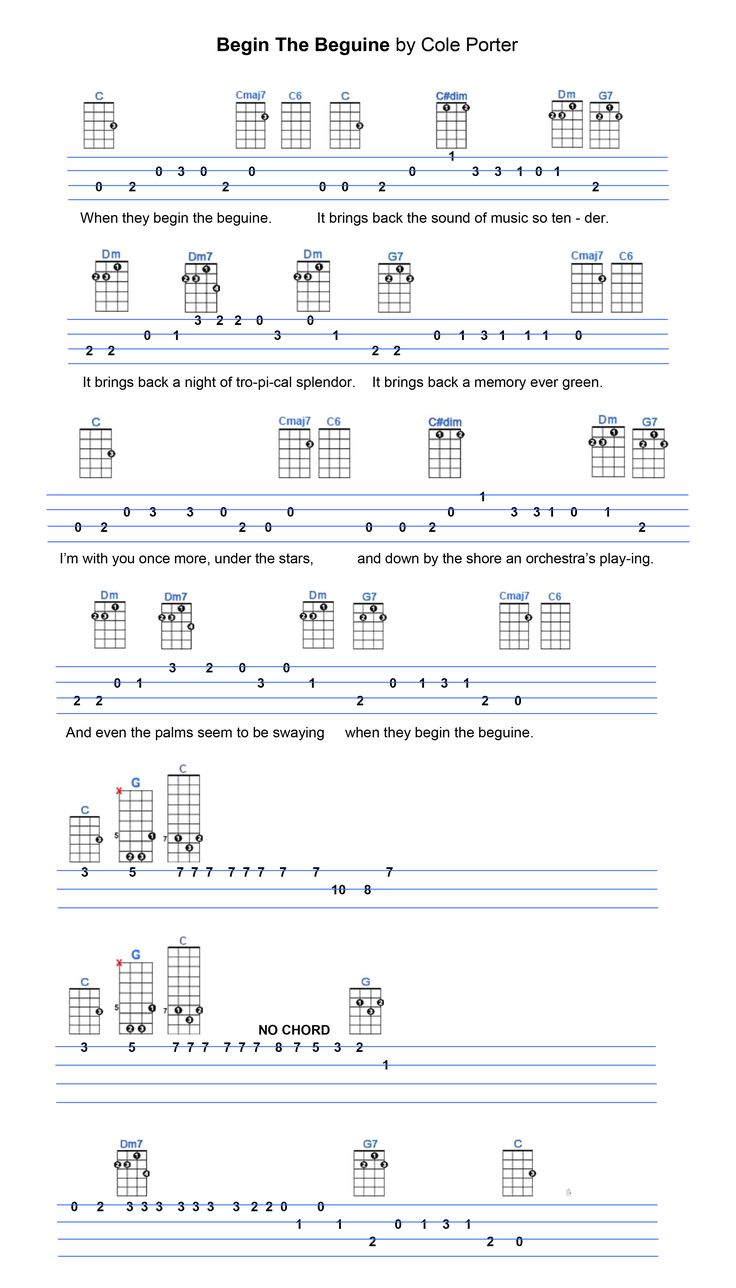 63 best ukulele tabs images on pinterest ukulele tabs guitars begin the beguine hexwebz Gallery