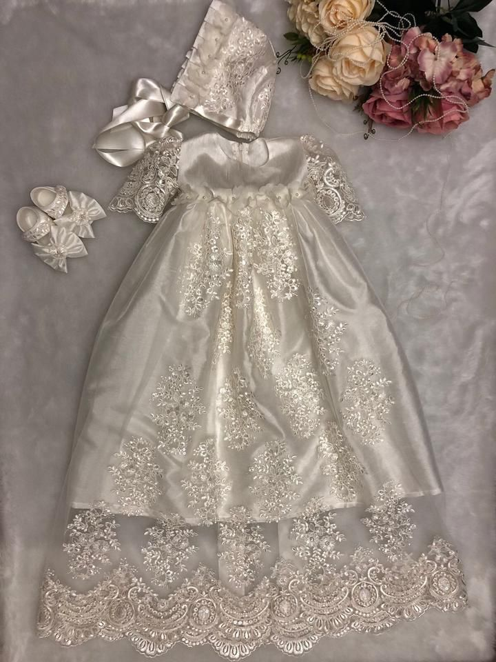 c8d89e189 This is a handmade beautiful baptism gown and matching bonnet hat. Perfect  for your child's