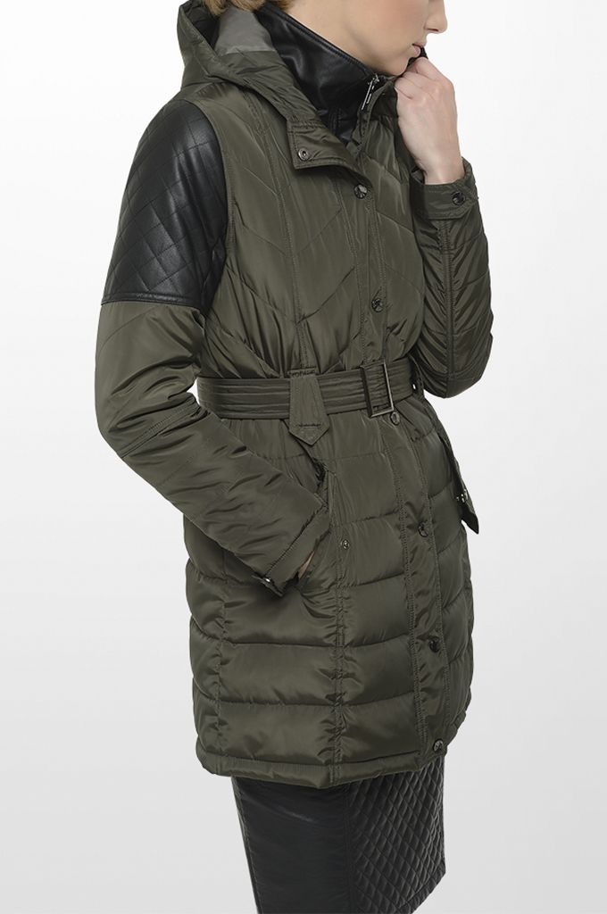 Sarah Lawrence - quilted jacket with fake leatheret details, leatheret pencil skirt.