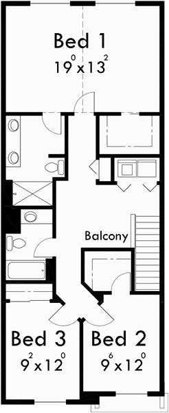 Upper Floor Plan for 10105 Narrow lot house plans, small house plans with garage, 3 bedroom house plans, 20 ft wide house plans, 10105                                                                                                                                                     Plus