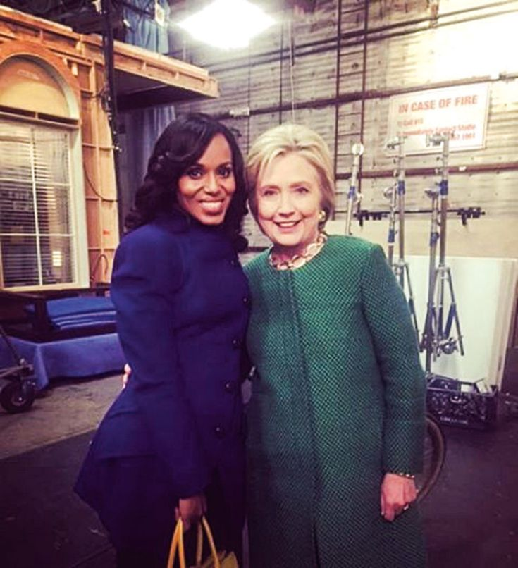 Hillary Clinton (right, with Kerry Washington) paid a surprise visit to the set of <em>Scandal</em> during her 2016 presidential campaign.