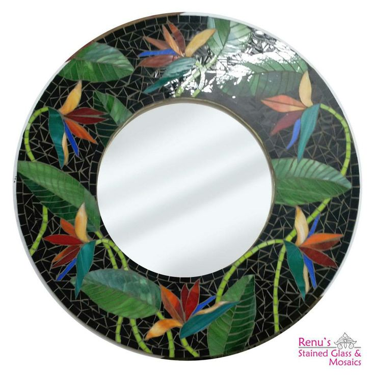 Circular bird of paradise Mirror using stained glass