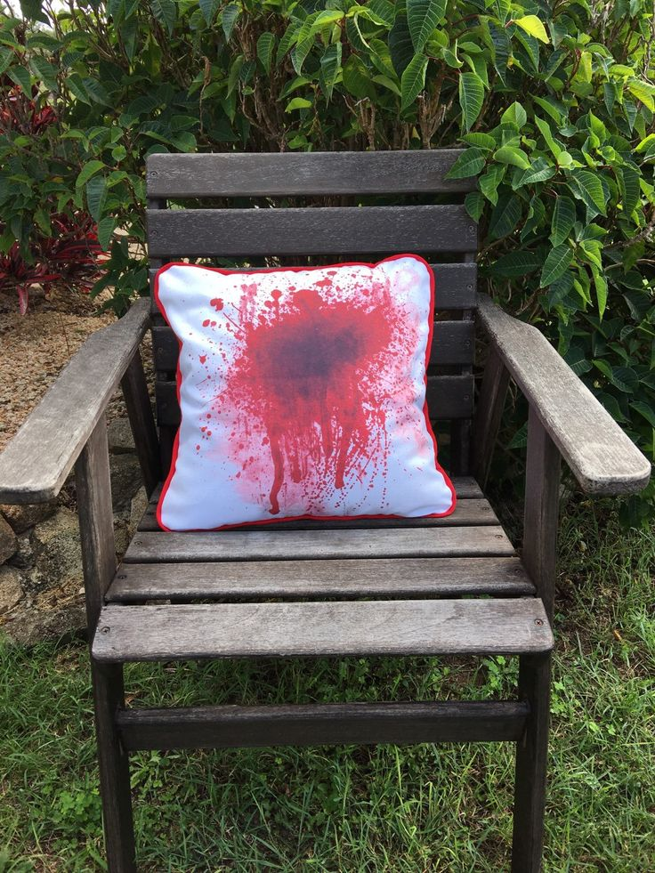 Blood Splatter - Cushion Cover and insert. Zombie cushion, home decor by QuiltAroundTheClock on Etsy https://www.etsy.com/listing/270730791/blood-splatter-cushion-cover-and-insert