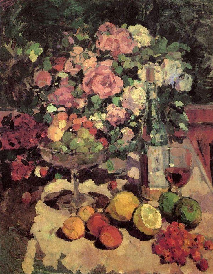 Roses, fruit, wine - Konstantin Korovin-