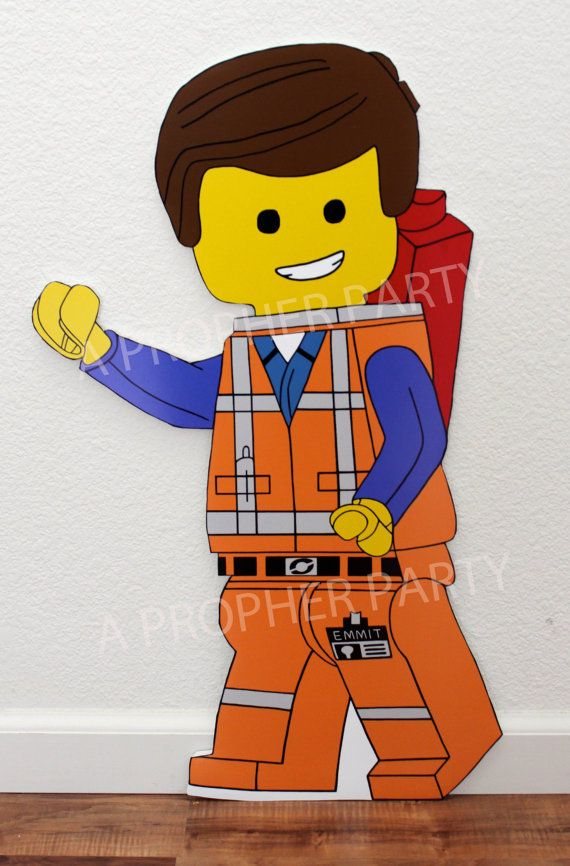 Are you planning a Lego themed party? Well, invite Emmet to your party and make it an extra special day! Place a stake behind him and set him in