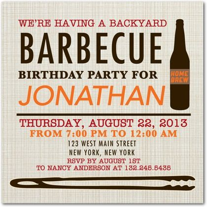 Backyard BBQ - Adult Birthday Party Invitations in Coffee | Smudge Ink