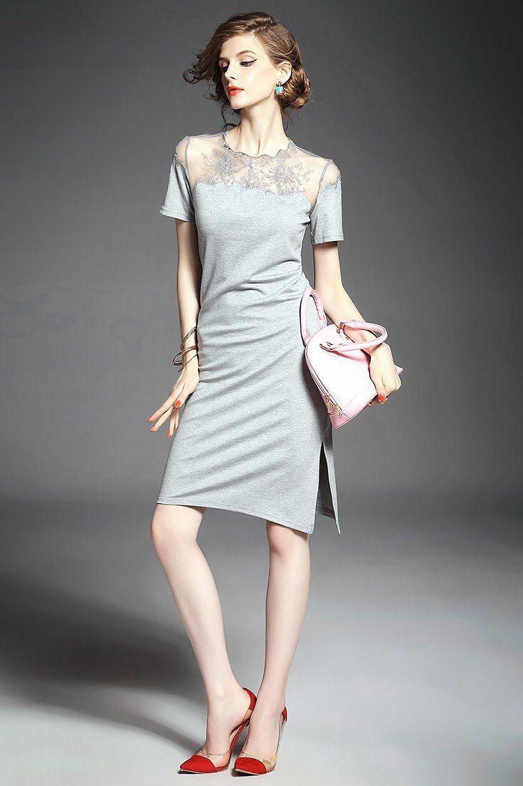 レディースファッション大人気 純色 レース 刺繍胸元 弾力あり ワンピース 11392891 - デートワンピース - Doresuwe.Com