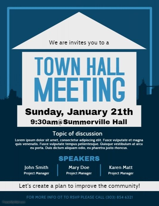 town hall meeting flyer postermywall pinterest poster design