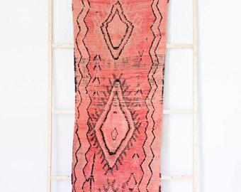 Vintage alfombra marroquí de Boucherouite La