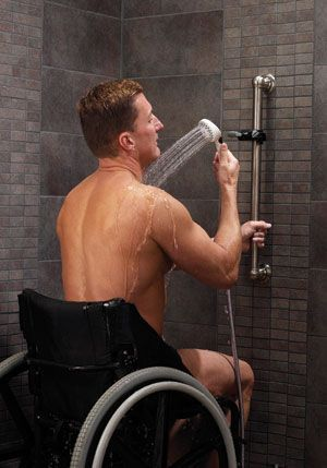 A removable shower head is something everyone can use. I personally love using these when washing my hair it makes me feel like im at the Spa! This is specially beneficial to people, like in the picture, who are in wheelchairs or another form of disability.