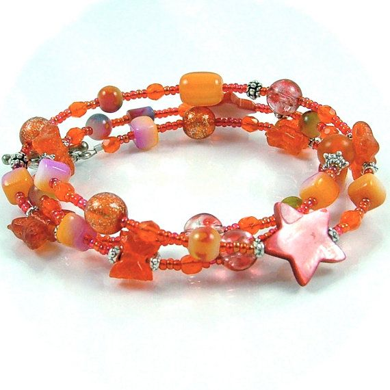"Bright Orange Magenta Triple Wrap Beaded Bracelet or 23"" Necklace"