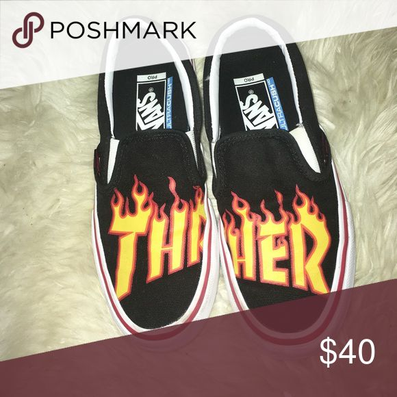 Thrasher Vans PRICE IS FIRM AUTHENTIC Worn once or twice, good condition!! I got these in a 4.5 men size but can fit a size 6 in women's *worn with socks* NO BOX Vans Shoes