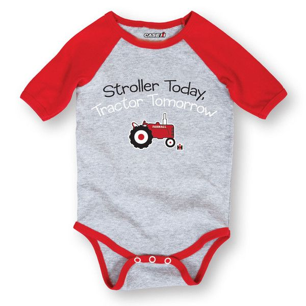 Officially licensed Case IH baby clothing! Stroller Today Farmall Tomorrow Athletic Heather RED Infant Raglan One Piece #caseihbaby