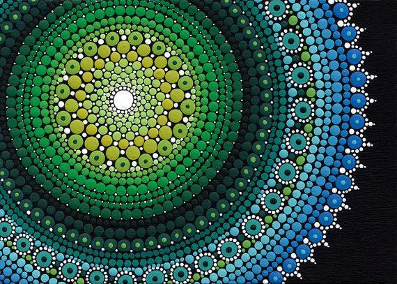 """MANDALA arte de Dot 5 x 7"""" Dotillism, puntillismo, pintados a mano de obra de Arte Original única detallada uno de una buena pintura de acrílico sobre madera"""