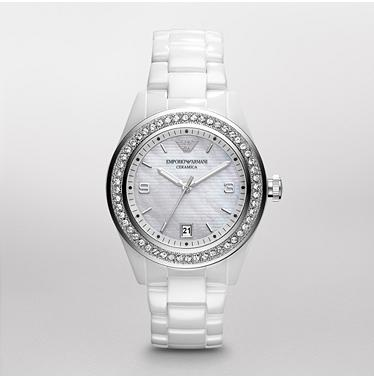 Armani's Ceramic Watch with Swarovski crystals around the edge - I've been eyeing it forever. I WANT I WANT! :) lol