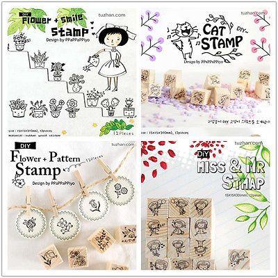 New Korean 4 Model Cute Mini DIY Cartoon Pattern Wooden Rubber Stamp | eBay