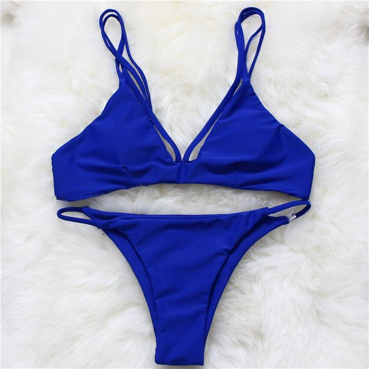 Solid Vintage Bikini Retro Swimsuit Swimwear Bathing Suit Brazilian