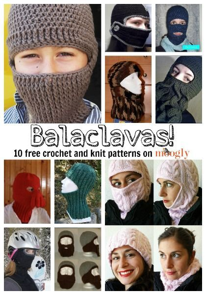 Closer fitting and easier to wear in the cold than a scarf, here are free crochet and knit balaclava patterns to help you stay warm this winter!