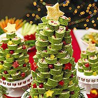 Clever way to serve tortilla rolls at Christmas. Cut into rounds and stack on cake stands. Very cute