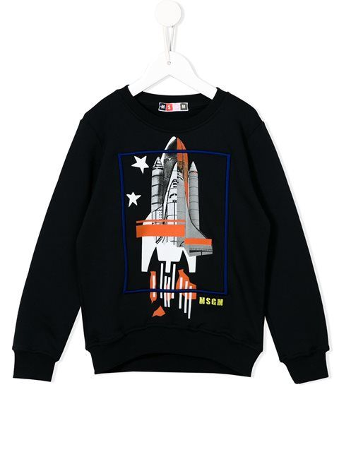Shop Msgm Kids rocket print sweatshirt in Cuccuini from the world's best…