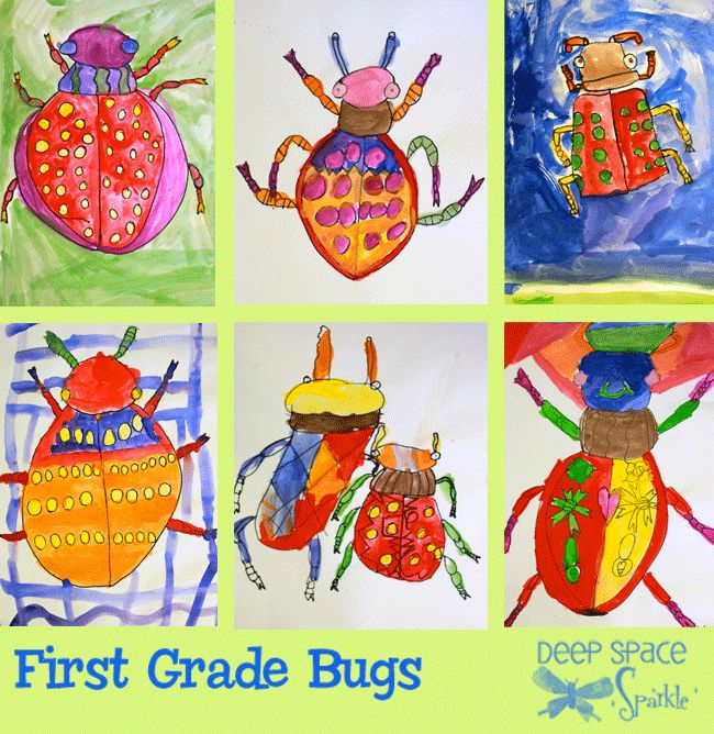 1st Grade, Bug line drawings and paintings