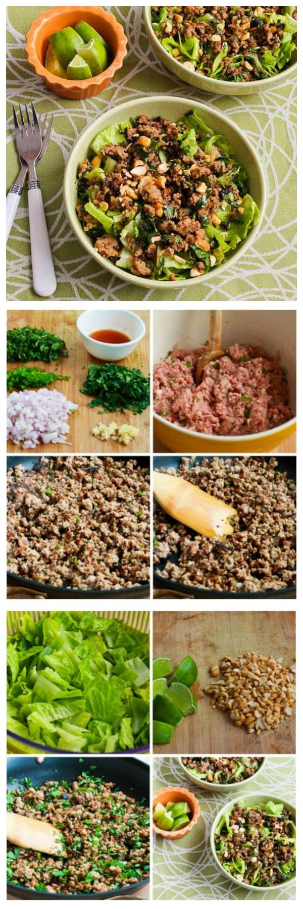 I'm crazy about this Thai-Inspired Ground Turkey Larb Salad.  Larb is a sweet-sour-spicy Thai salad that's loaded with flavor and this version is really good.  The salad has a very small amount of brown sugar but I used Stevia granulated for a lower-carb version; take your choice on that.  [from KalynsKitchen.com]