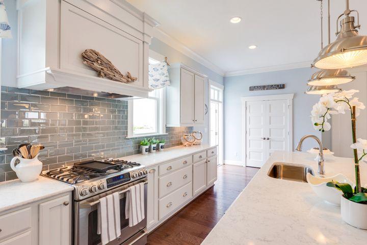 coastal kitchen with subway tile backsplash