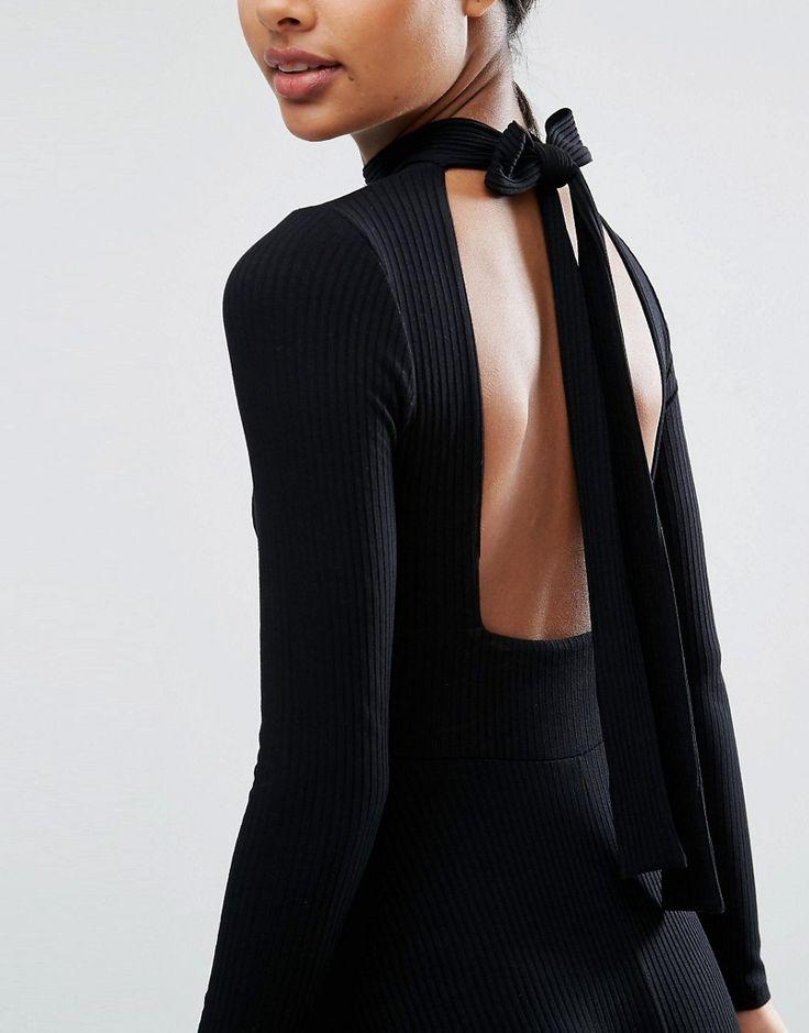ASOS Midi Dress in Rib with Open Back
