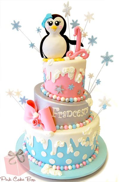 Francesca's Winter Wonderland Birthday Cake by Pink Cake Box in Denville, NJ.  More photos and videos at http://blog.pinkcakebox.com/francescas-winter-wonderland-birthday-cake-2013-02-05.htm    #cake #winter