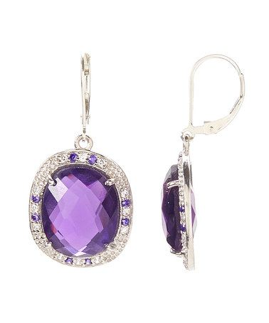 Another great find on #zulily! Purple & Sterling Silver Halo Bezel Earrings #zulilyfinds  $39.99