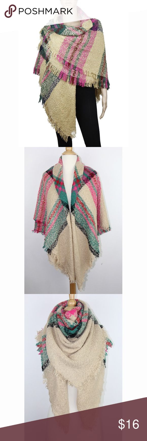 "Khaki Pink Extra Thick Tartan Plaid Blanket Scarf Material: 100% Acrylic, soft touch Weight: 7.65 oz Size: 57"" x 57"", large square wrap Oversized styling, check plaid tartan pattern, frayed ends Hand wash or dry clean only, do not bleach Accessories Scarves & Wraps"