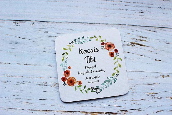 Vintage esküvői poháralátét, esküvői köszönetajándék - vintage wedding coasters