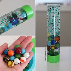 This marble sensory bottle is fun, inexpensive, and super easy to make (three things I like!). Supplies: A bottle Marbles Hair Gel Water Glitter Instructions: Add the marbles to your bottle. The am…