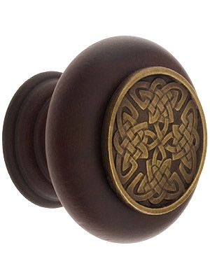 "Hardwood Knob with Celtic Isle Onlay - 1 1/2"" Diameter"