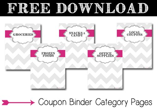 Download FREE Category Pages for your coupon binder