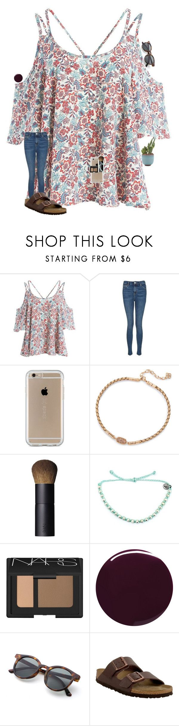 """""""••"""" by mackenzielacy814 ❤ liked on Polyvore featuring Sans Souci, Topshop, Speck, Kendra Scott, NARS Cosmetics, Pura Vida, Burberry and Birkenstock"""