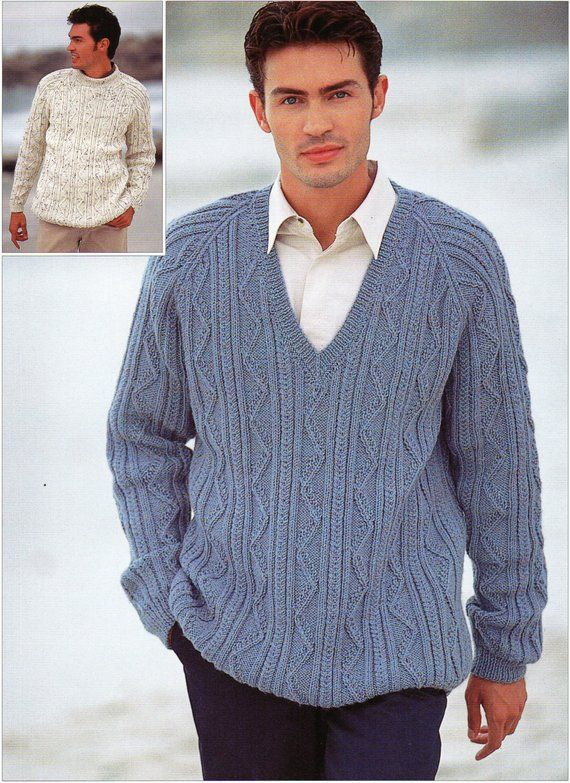 7db433a3b9bc M8016 mens cable sweater knitting pattern crew neck v neck 38-48 inch DK  mens