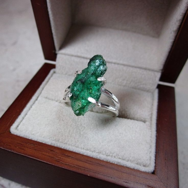 Raw Emerald Ring Emerald Ring Raw Gemstone Ring Natural by Bihls